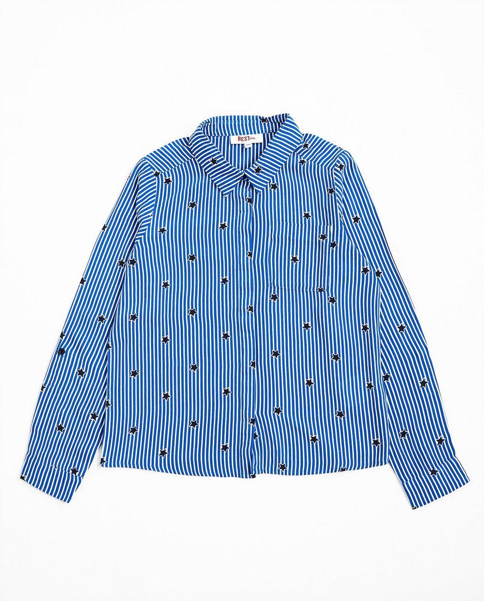 Blau-weiß Hemd - mit Sternenprint - Best price